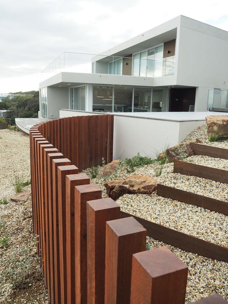 Ironbark pool fence and indigenous garden on the Mornington Peninsula