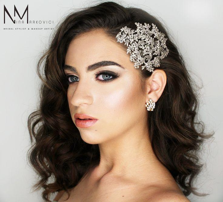 Bridal styling long brown hair