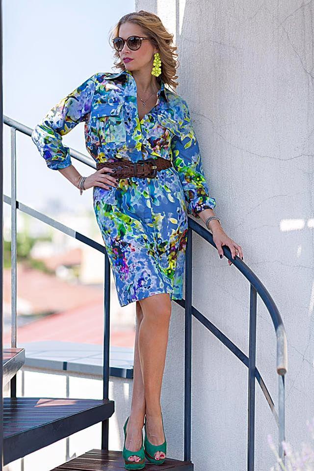 Beautiful Ileana Badiu looking amazing in LURE silk shirt dress! www.lurestore.eu #lure #springsummer #ileanabadiu #shirtdress