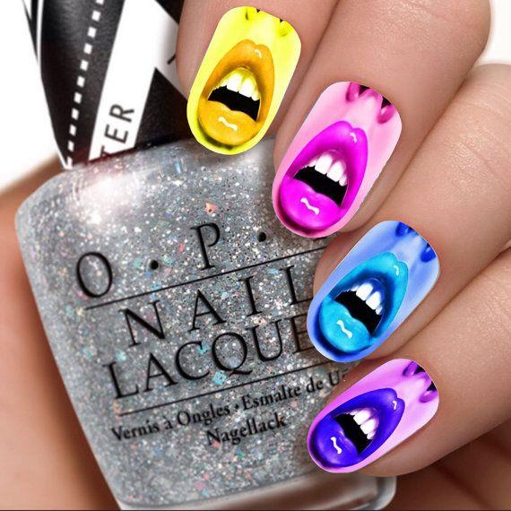 Colored Lips Nail Wraps / Nail Decals /  Nail Art