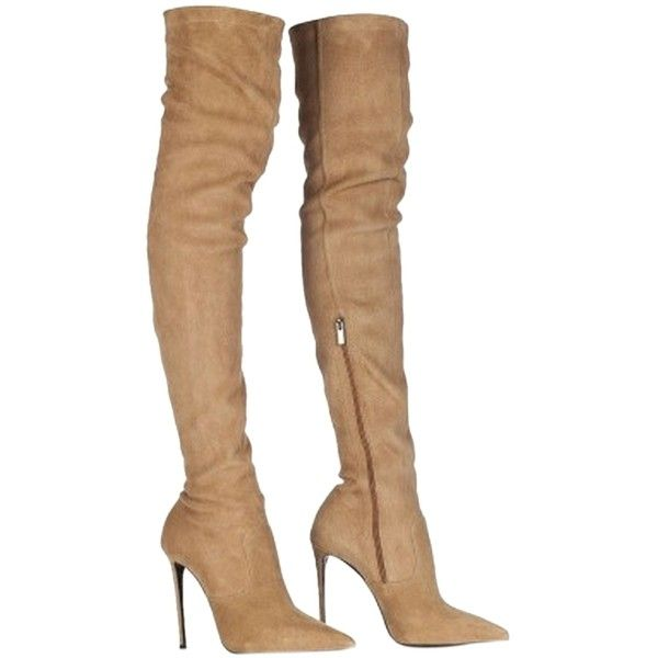 Pre-owned Roberto Cavalli Leather Over The Knee Stretch Thigh High... ($468) ❤ liked on Polyvore featuring shoes, boots, heels, camel, camel boots, thigh high heel boots, pointed toe over the knee boots, leather boots and heel boots
