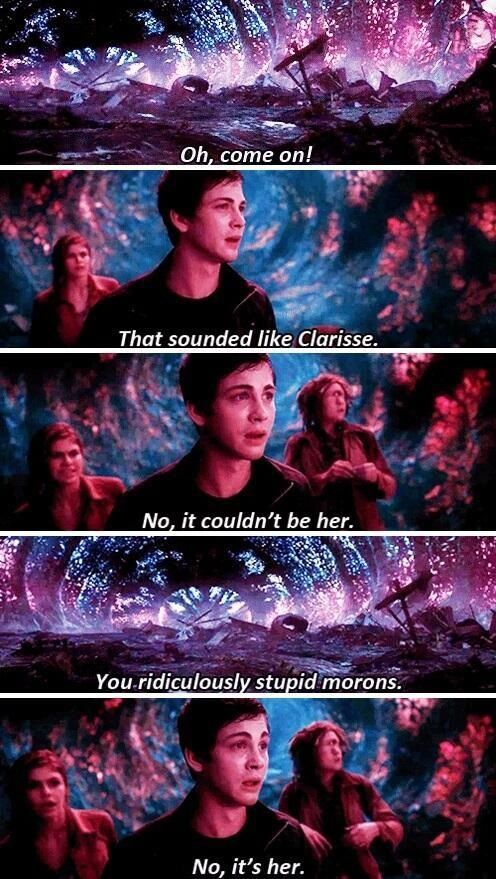 """""""No, it's her."""" HAHA PERCY>>>> I know the PJO movies are nothing at all like the book but for movies they are pretty awsome!>>>>>that person has issues the movies are shist"""