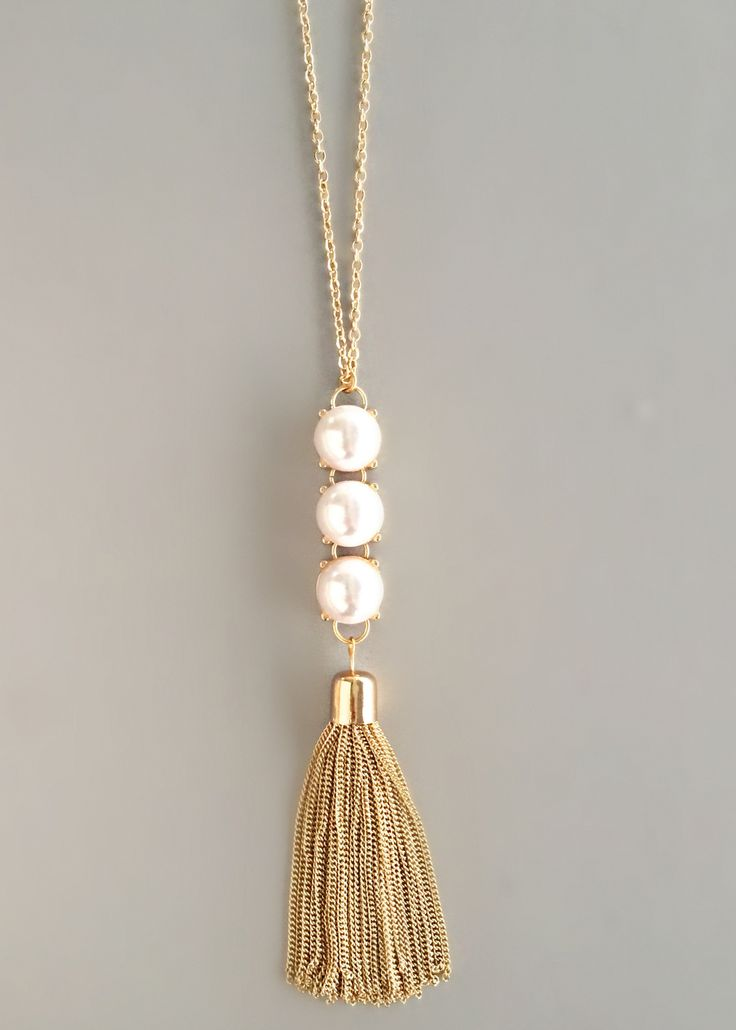 Triple Pearls Tassel Necklace