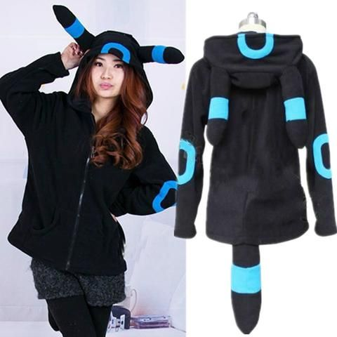 Pokemon Shiny Umbreon Women Men Zip Hoodie with Ears Tails Cosplay Cos – Hespirides Gifts
