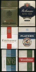 Market leading cigarettes from the 60s: Rothmans King Size, Benson and Hedges Special Filter, Embassy Tipped, Players Navy, Players No6 and Woodbine