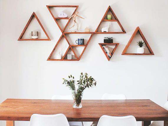 set of 6 triangle shelves large triangle shelves wood shelf