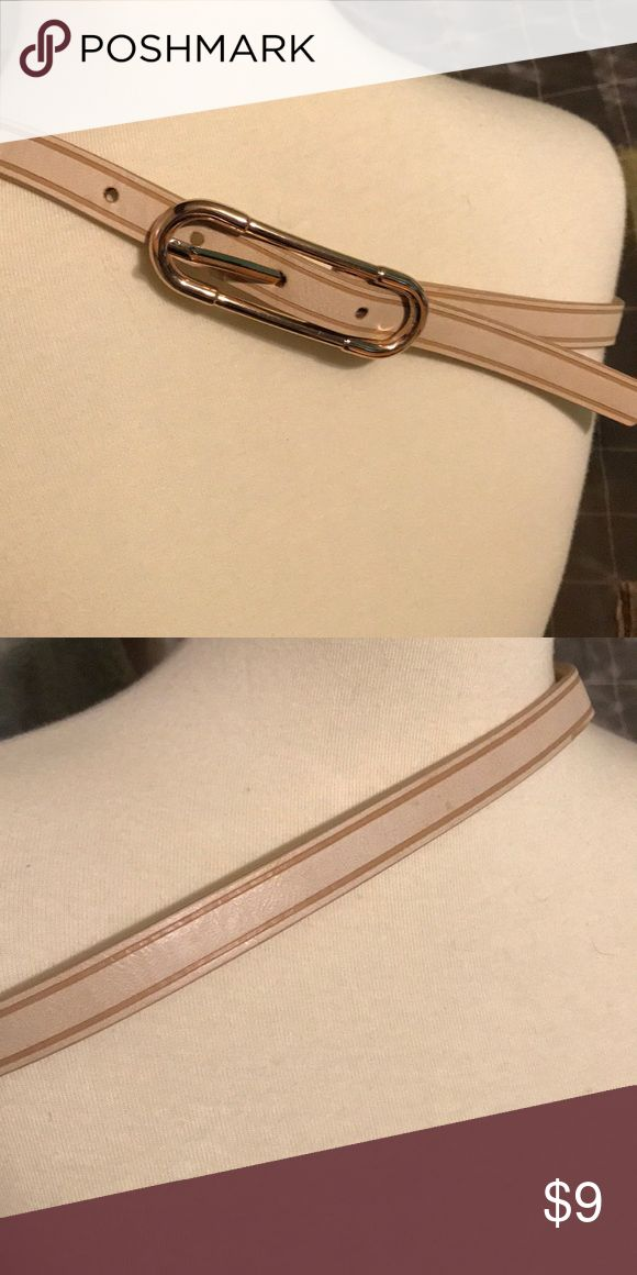 Small thin gold cream tan stripe belt Small thin gold and tan belt worn once Glassons Accessories Belts