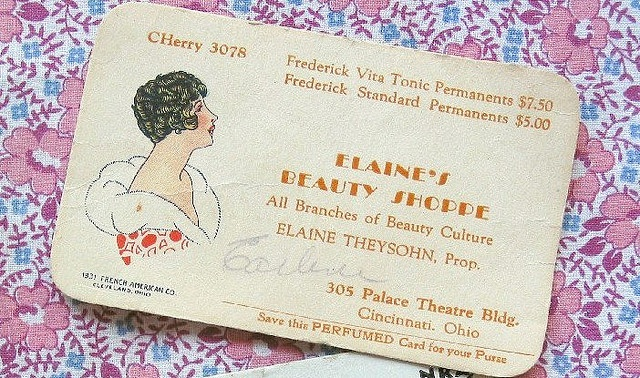 vintage 1930's business card (collection of Niesz Vintage Fabric, Flickr)