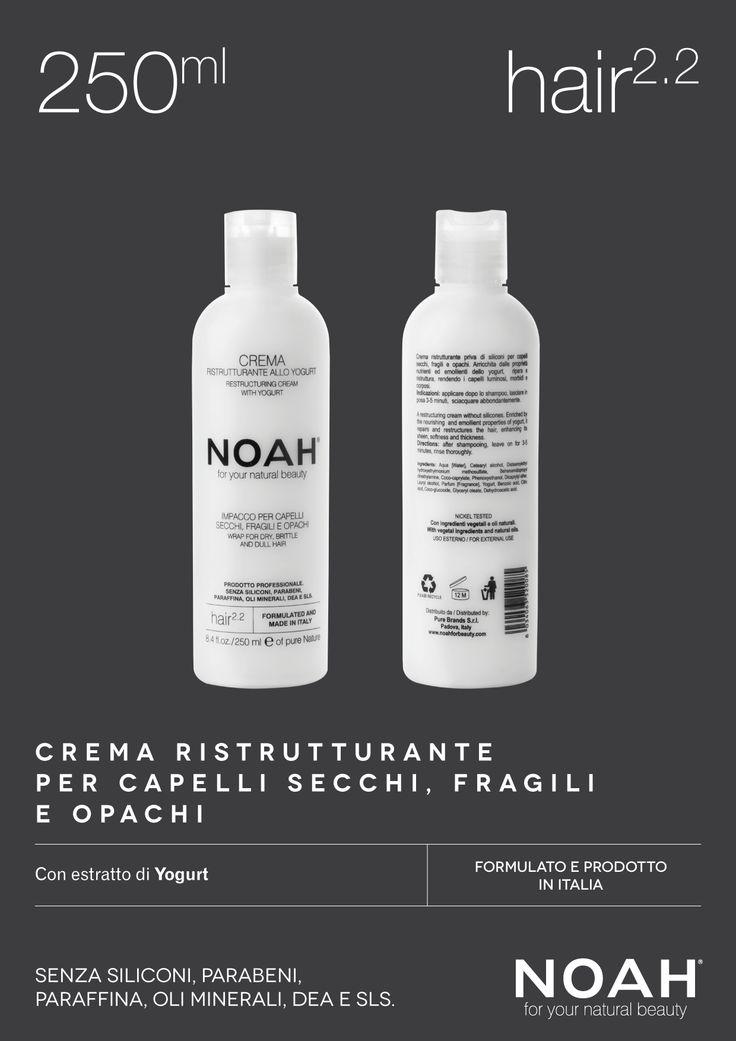 NOAH crema ristrutturante per #capelli secchi, fragili e opachi. Senza siliconi, parabeni, paraffina, oli minerali, DEA e SLS. €.8.35