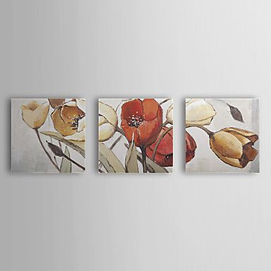 Hand Painted Oil Painting Floral with Stretched Frame Set of 3 1308-FL0767 – USD $ 109.99