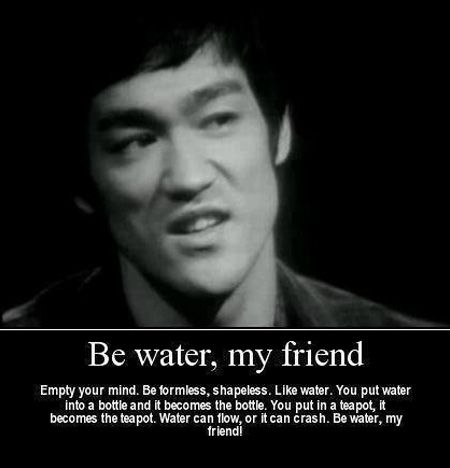 """Empty your mind. Be formless, shapeless. Like water. You put water into a bottle and it becomes the bottle. You put in a teapot, it becomes the teapot. Water can flow, or it can crash. Be water, my friend!"" -Bruce Lee , for this I left his words, ed"