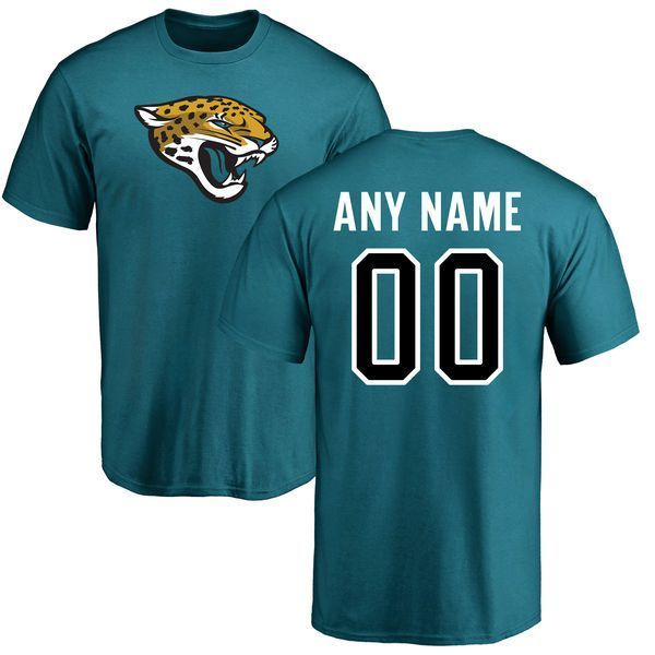 premium selection 56f7c a1072 Men Jacksonville Jaguars Pro Line Teal Custom Name and ...