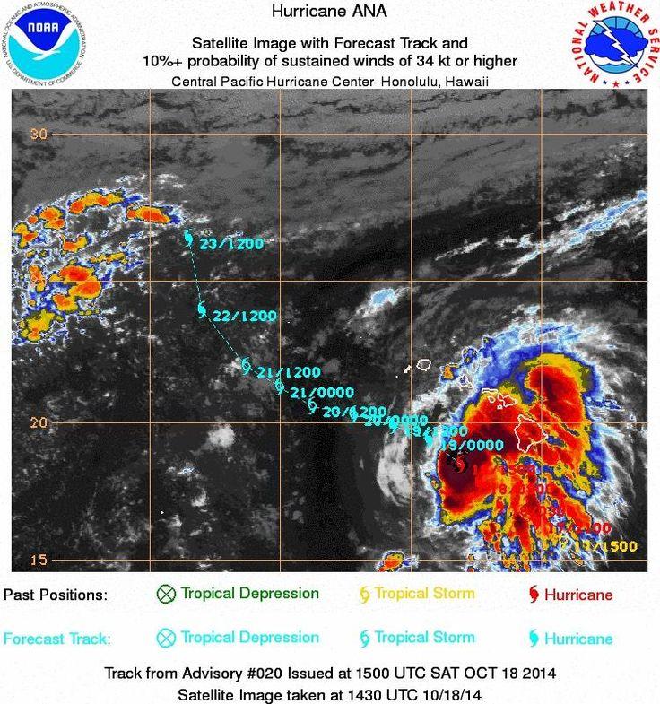 Satellite image taken at 430am HST of  Hurricane Ana.  Embedded image permalink 10/18/14