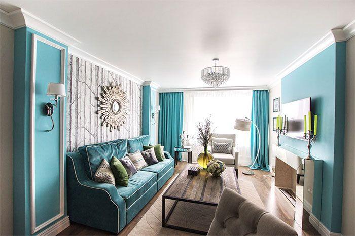 Картинки по запросу бирюзовый цвет в интерьере гостинной