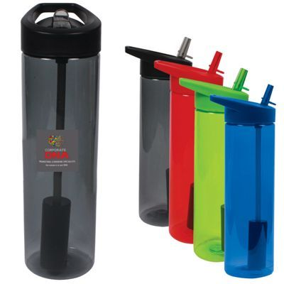 Durable 20 oz. (600 mL) MS plastic water bottle with unique filter compartment at base of straw. Made of single wall BPA free MS plastic. Filter helps remove any dirt or debris in your drinking water without compromising the taste. Compare it to the Brita and PUR filtration systems. Designed for use with cold beverages only. Bottle is dishwasher safe, except for the filter which much be removed and hand washed. Hand wash recommended for imprinted product. Do not microwave. NOTE: Carbon…