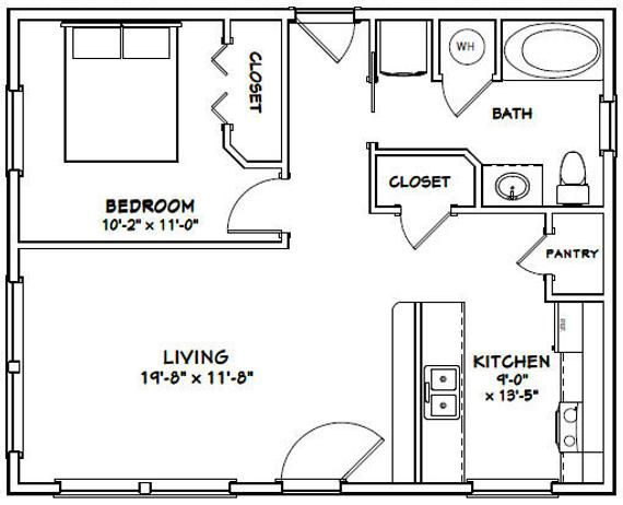 30x24 House 1 Bedroom 1 Bath 720 Sq Ft Pdf Floor Plan Instant Download Model 1j In 2020 Floor Plans Cabin House Plans How To Plan