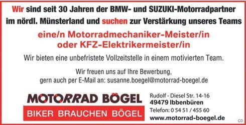 Stellenbezeichnung: Motorradmechaniker - Meister m/w oder KFZ-Elektrikermeister m/w  Arbeitsort: 49479 Ibbenbüren Nordrhein-Westfalen, Deutschland  Weitere Informationen unter: http://stellencompass.de/anzeige/?id=139429