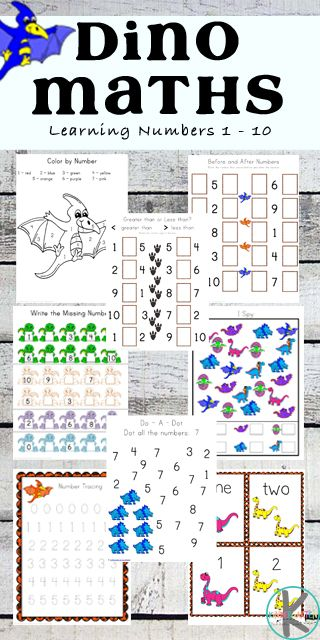 FREE Dinosaur Math Worksheets - these super cute preschool and kindergarten worksheets are perfect for teaching kids counting, color by numbers, which comes next, writing numbers, addition and more.