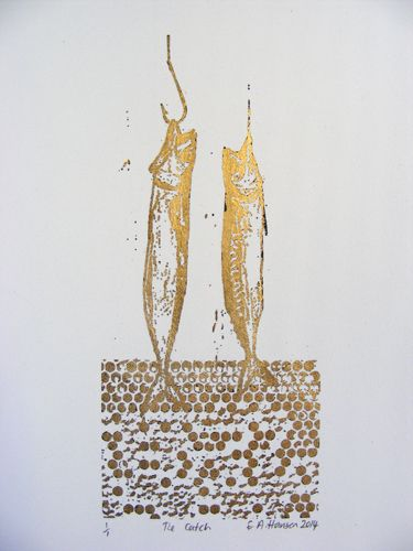 E A Hansen, The Catch, 2014 digital print with gold leaf