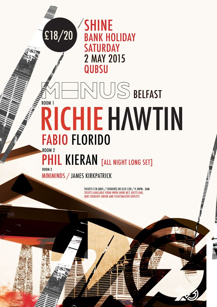 Minus Belfast with Richie Hawtin Bank Holiday Monday, 2 May 2015 QUBSU