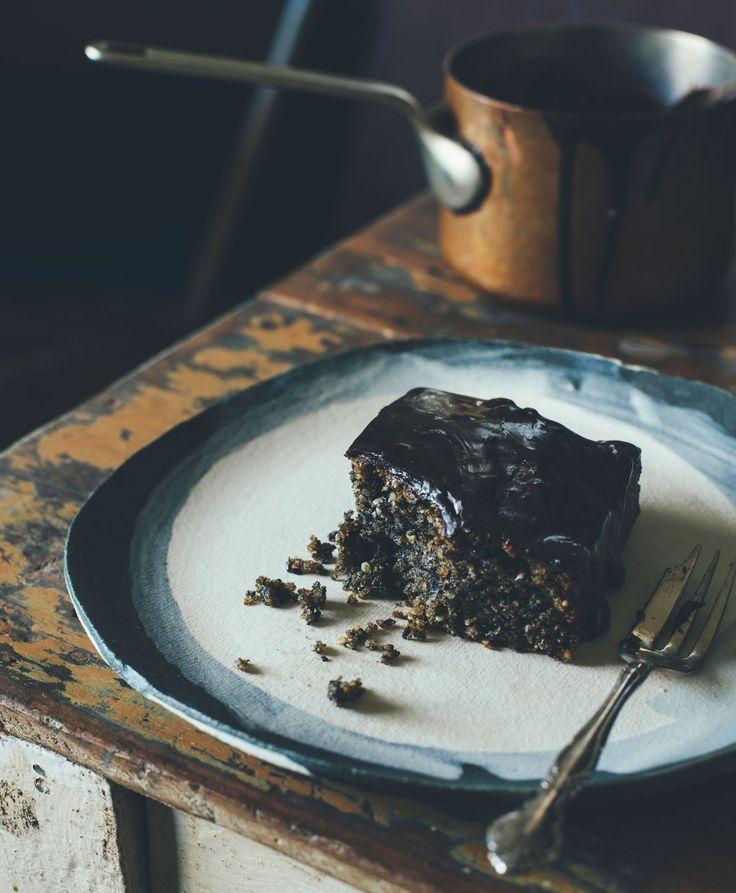 Black sesame chocolate cake