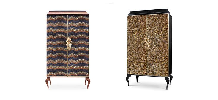 Divine Armoire by KOKET | This utterly desirable double door pagoda top armoire is covered in delicate iridescent peacock feathers each individually placed. #armoire #luxurydesign #peacock http://www.bykoket.com/guilty-pleasures/casegoods/divine-armoire.php