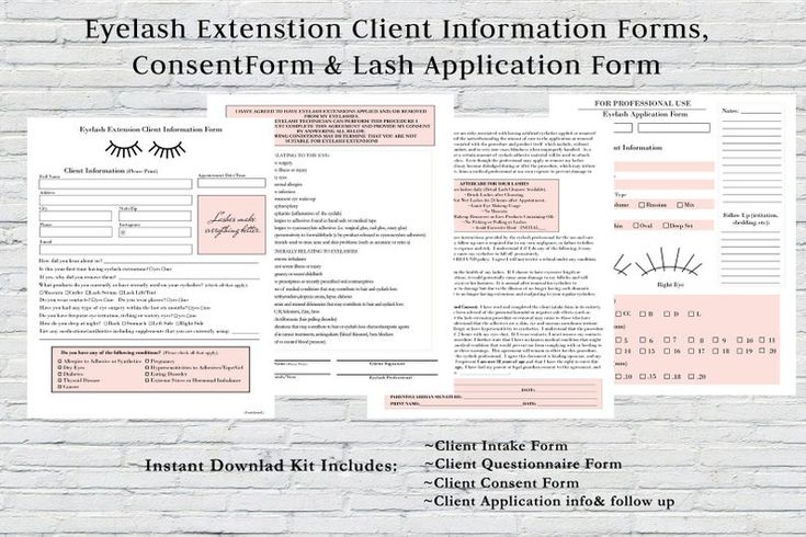 Eyelash Extension Forms, Client Consent Form, Client