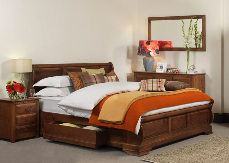 In the heat of a Mediterranean summer, nothing is rushed. Exactly like the precise craftsmanship that goes into our Monaco sleigh bed, seen here in a natural wood finish.  The look is grandiose, yet fluid, gently leading the eye from the three individual solid wood panels on the head and footboard to the single piece of wood used for the leg scrolls. All lovingly crafted and hand-set into position. #frenchbeds