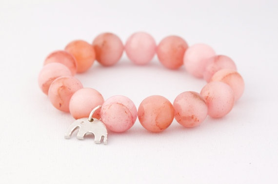Pink Jade and A Lucky Elephant Charm