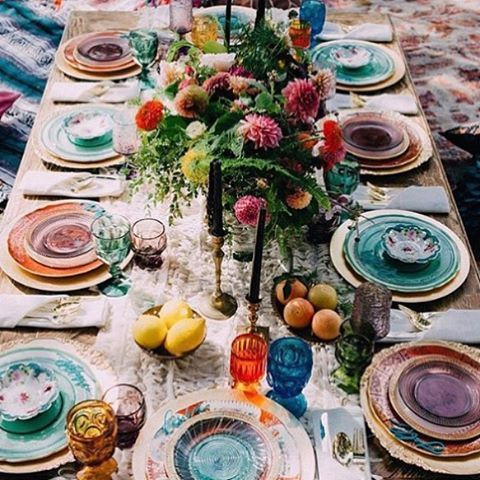 bohemian inspired tablescape, colorful and bold tablescape