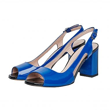 Mauro Teci Patent Sling Back Sandal -   This stunning patent blue leather, contrasting with black patent on toe pad and rear of heel.  For our full collection visit http://www.louisemshoes.com. #louisemshoes