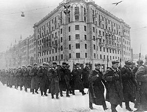 December 1941. Fresh forces going to the front from Moscow.The Battle of Moscow is the name given by Soviet historians to two periods of strategically significant fighting on a 600 km (370 mi) sector of the Eastern Front during World War II. It took place between October 1941 and January 1942. The Soviet defensive effort frustrated Hitler's attack on Moscow, capital of the Union of Soviet Socialist Republics and the largest Soviet city. Moscow was one of the primary mil. and pol. objectives