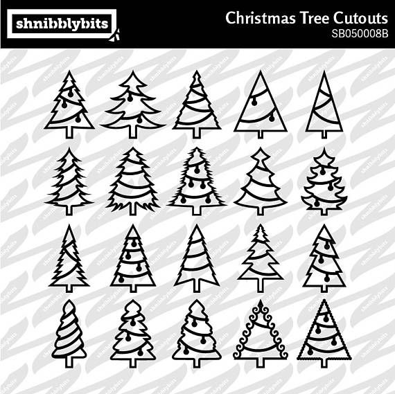 20 Decorated Christmas Tree Cutouts With Backing Layer  SVG