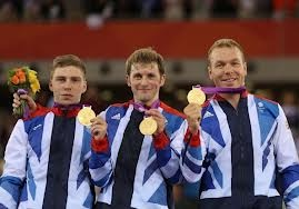 Men's team sprint winners: the amazing Philip Hindes, Jason Kenny and cycling God, Chris Hoy