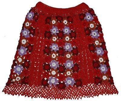 Tejidos Carmesí: Falda tejida a crochet en hilos Textil Amazonas en colores anaranjado, marrón, rojo, lila y blanco, talla M