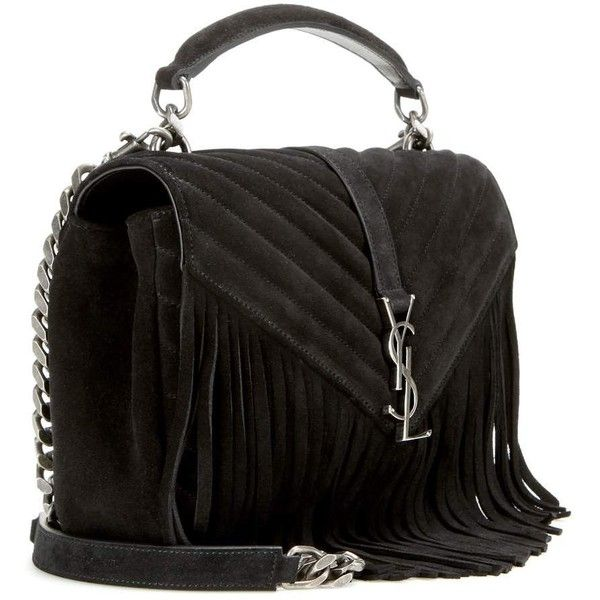 yves st larent - Saint Laurent Classic Monogram Fringed Suede Shoulder Bag (��1,230 ...