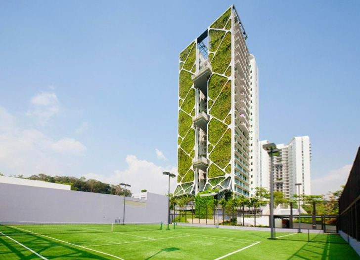Singaporean Tree House sets Guinness record for world's largest vertical garden (24-story condo tower)
