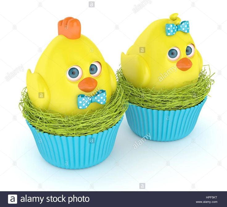 Download this stock image: 3d render of Easter chicks in nests isolated on white background - HPF5KT from Alamy's library of millions of high resolution stock photos, illustrations and vectors.