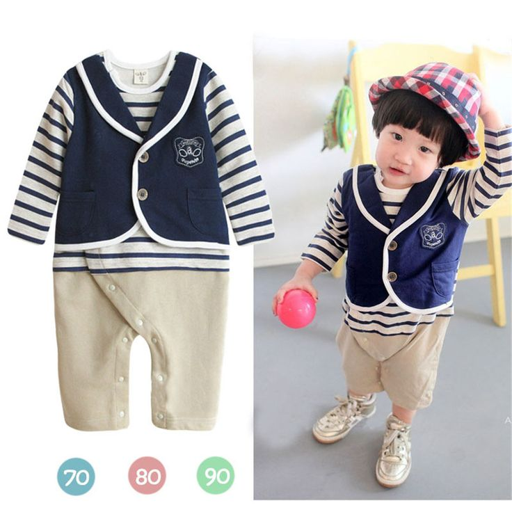 Wholesale 3pcs/lot Infant Toddler Baby Boy's Formal Wear Tuxedo Rompers,Double-breasted baby clothing boy infant wear NO.52