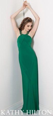 Yeşil, uzun abiye modeli,  Kathy Hilton abiye