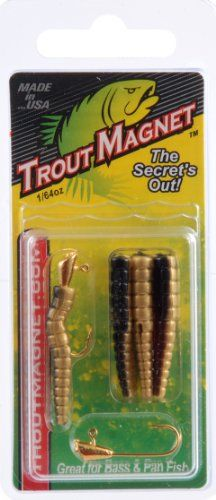 Leland Lures Trout Magnet Pack (9 Piece)  http://fishingrodsreelsandgear.com/product/leland-lures-trout-magnet-pack-9-piece/  The Trout Magnet 9 pc. pack contains (7) bodies and (2) 1/64oz size 8 hooks Trout Magnet falls horizontally rather than vertically With constant twitches of the rod tip, the lure looks life-like as it flows downstream