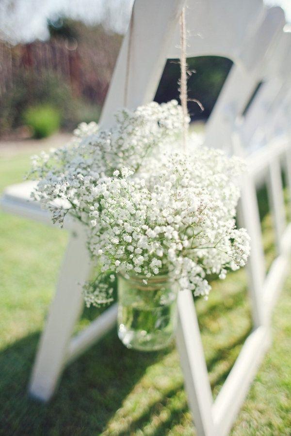 rustic baby breath wedding chair arch ideas / http://www.deerpearlflowers.com/rustic-budget-friendly-gypsophila-babys-breath-wedding-ideas/4/