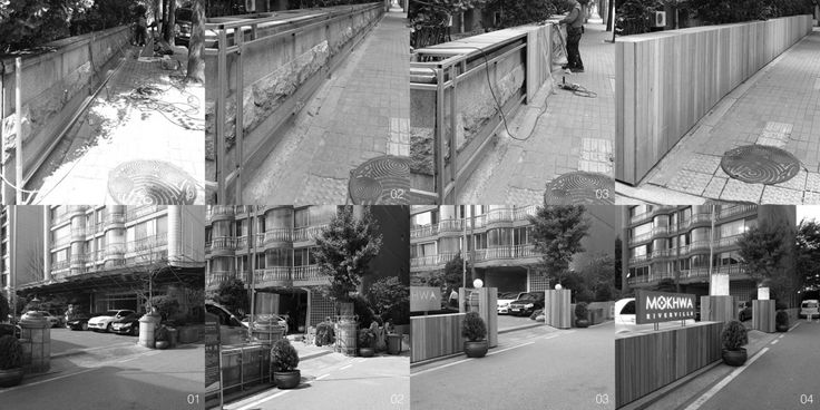 Construction process of the new perimeter wall and entrance gate  http://www.hjlstudio.com/chungdam-mokhwa-riverville