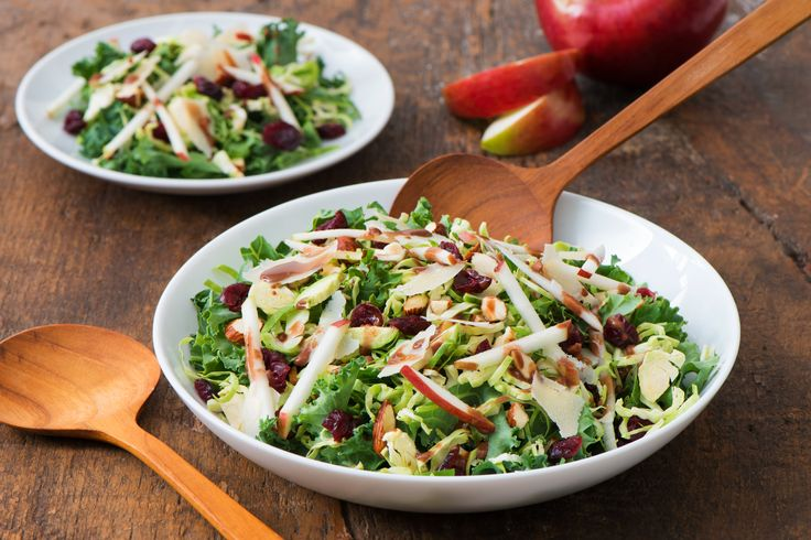 Shredded Kale and Brussels Sprouts Salad with Black Currant Balsamic Dressing - E.D.Smith