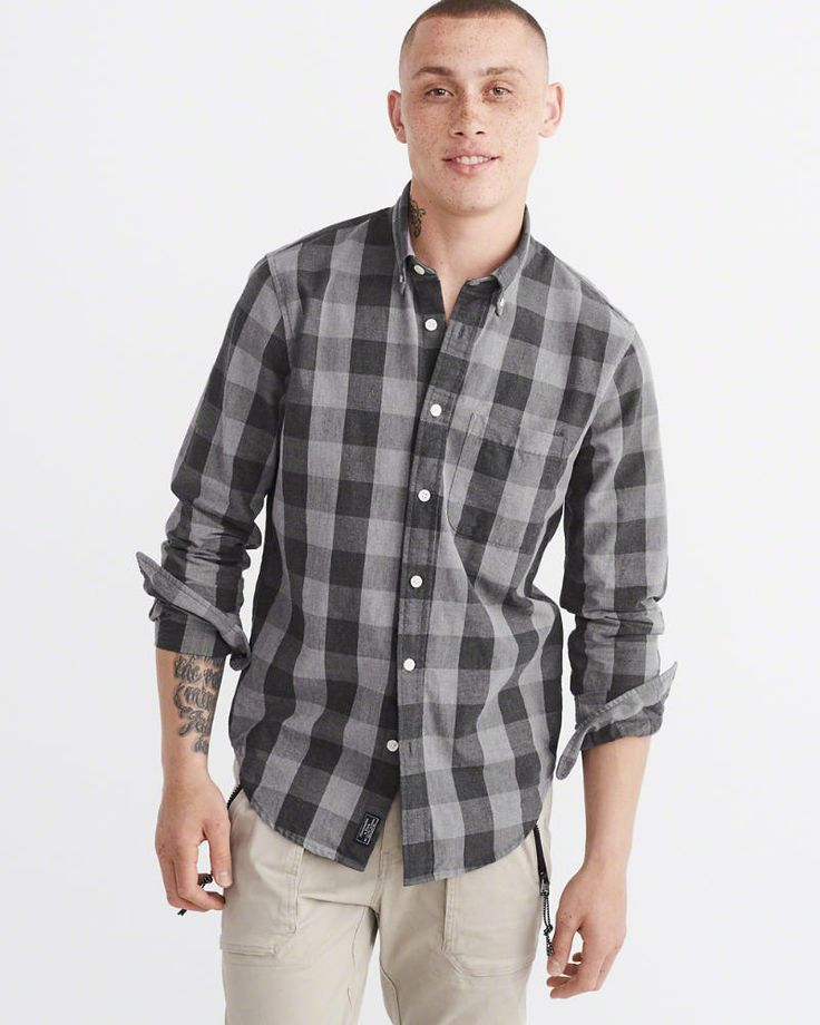 A&F Men's Oxford Shirt in Grey - Size XS
