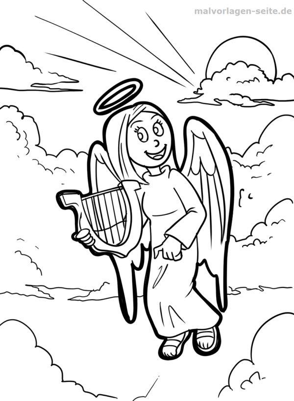 Malvorlage Engel mit Harfe Fabelwesen - Kostenlose