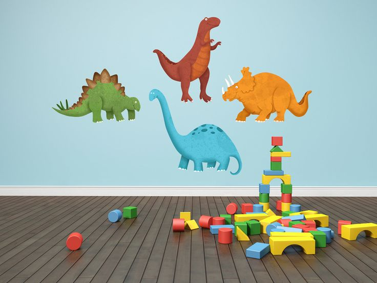Dinosaur Decals   Dinosaur Wall Decals   4 Piece Set Of Original Dinosaur  Childrens Decor