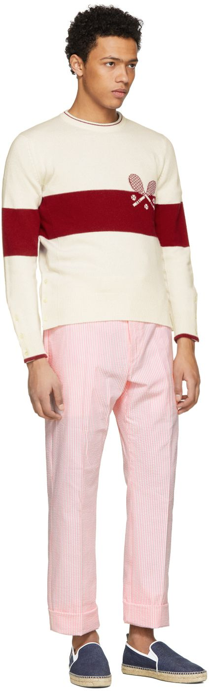 Thom Browne - Red & White Tennis Knit Sweater