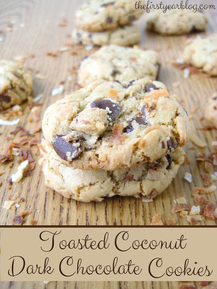 Toasted Coconut Dark Chocolate Cookies~these look delish, think I would add some toasted pecans