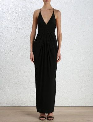 Silk Crossback Long Dress